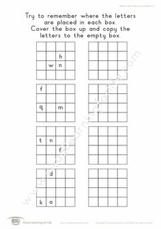 """In the """"Memory Block Letters 4x4 (3 Letters)"""" worksheets, the student must remember where the letters are placed in each box, so that they can copy them to the open box from memory. Learning For Life, Visual Learning, Letter Worksheets, Visual Memory, 3 Letter, Try To Remember, Block Lettering, 4x4, Student"""