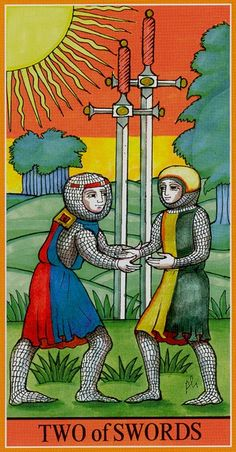 Two of Swords - Dame Fortune's Wheel Tarot by Paul Huson.