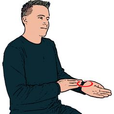 Blue - Flat primary hand makes small circles in upturned wrist of secondary hand. British Sign Language (BSL)