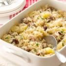 Polish Reuben Casserole - Made some substitutions (cream cheese, sour cream with a little Worcestershire instead of soup, quinoa pasta instead of egg noodles, didn't use breadcrumbs) and it was really good! I made 2 9x13 pans for the 8 of us. ..mn*