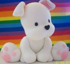 💙💜 This little Doggie would be really cute done in fondant 💜💙 Polymer Clay Figures, Polymer Clay Animals, Fondant Figures, Fimo Clay, Polymer Clay Charms, Polymer Clay Projects, Polymer Clay Creations, Clay Crafts, Fondant Dog