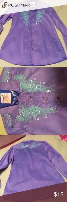 Shirt Roar worn once excellent condition purple with turquoise stiching and rhinestones Roar Tops Button Down Shirts
