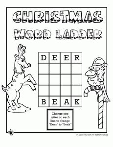 christmas 4 letter word ladder deer to beak - Holiday Printable Puzzles