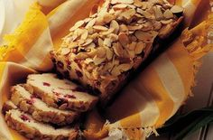 Try the delicious Cranberry Almond Bread recipe from Ocean Spray®. The sweetness of cranberry and the crunch of almonds in this tasty bread will make your day! Cranberry Almond, Cranberry Bread, Cranberry Recipes, Beignets, Delicious Desserts, Yummy Food, Almond Bread, Sliced Almonds, Ground Almonds