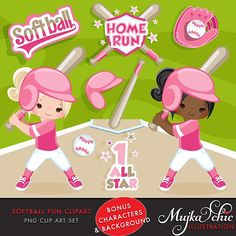 New Release! Pink Softball graphics. 16 cliparts:)