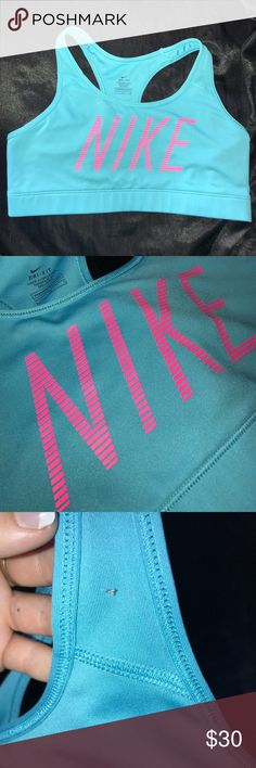 Nike Sports bra💪🏼 Super cute Nike sports bra! It's baby blue with bright pink lettering across the chest! I got it for my birthday but doesn't fit😕 comment below if you have any questions and feel free to offer or possibly trade! Nike Intimates & Sleepwear Bras