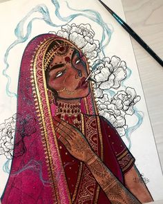 South African South Asian artist Darshini Chetty has a passion beyond illustration and has made her artwork come to life. Indian Aesthetic, Aesthetic Art, Indian Illustration, Indian Art Paintings, Art Drawings Sketches, Portrait Sketches, Sketch Art, Art Sketchbook, Asian Art