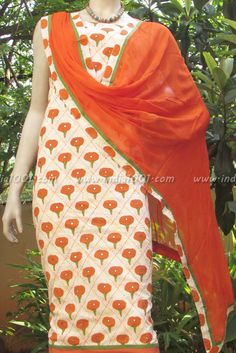 Designer Cotton unstiched suit fabric with mirror work | India1001.com