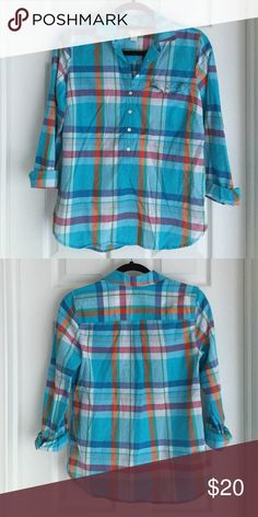 J. Crew Plaid Pop-Over Blouse Plaid pop-over style blouse from J. Crew with small chest pocket detailing, NWOT (never worn), lightweight 100% cotton (perfect for spring/summer) J. Crew Tops