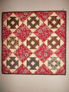 Inspired by antique quilts Small Quilts, Mini Quilts, Baby Quilts, Crib Quilts, Primitive Quilts, Antique Quilts, Vintage Quilts, Churn Dash Quilt, Plaid Quilt