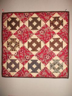 Inspired by antique quilts Primitive Quilts, Antique Quilts, Vintage Quilts, Small Quilts, Mini Quilts, Churn Dash Quilt, Plaid Quilt, Civil War Quilts, Miniature Quilts