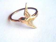 Brass Swallow Bird Ring on Antiqued Brass Band, Art Nouveau, Tattoo, Steampunk Free Shipping Worldwide. $19.95, via Etsy.