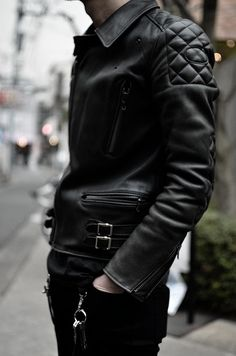 Leather Jacket. Thick.  Black & Black. Details. Fashion. Men. Great Style. Rough. +1