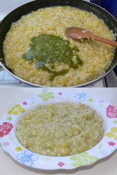 Risotto con pesto e patate. Food Humor, Savoury Dishes, Gnocchi, Italian Recipes, Food To Make, Veggies, Food And Drink, Yummy Food, Healthy Recipes
