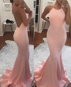 pink mermaid prom dresses long , long women's prom dresses, mermaid pink prom gowns, hater simple prom dresses long, women's prom dresses for women, backless pink prom dresses