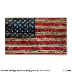 Wooden Vintage American Flag Rectangular Sticker