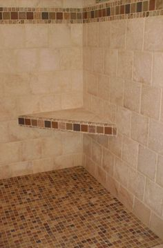 shower seats | tumbled marble shower with bench seat and deco of glass and tumbled ...
