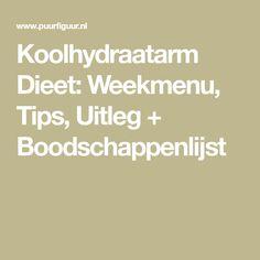 Koolhydraatarm Dieet: Weekmenu, Tips, Uitleg + Boodschappenlijst