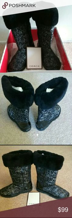 Coach boots black new NWT Black Coach boots. Has coach symbol all over boot. Coach Shoes Winter & Rain Boots