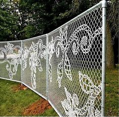 wire in chain link to make a lace fence