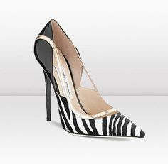 Jimmy Choo | Viper | White And Black Zebra Print Pony Mirror Leather And Patent Pointy Toe Pump | JIMMYCHOO.COM