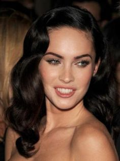 Megan Fox Long Hairstyle with Side Swept Waves Pictures -- https://www.etsy.com/shop/Whitesrose Go here for your Dream Wedding Dress and Fashion Gown!