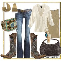 Cowgirl cozy...loving the boots & the sweater...this hear is making me ache for winter :D