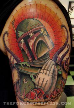 BobaFett  from Star Wars  Tattoo, May the force be with you, princess leia, luke skywalker, darth vadder, hans solo, chewy, lando, R2D2, C3PO, jabba the hut, lando, death star, yoda, ewaks, obi one kenobi, dark side, wookie, light saber, millennium falcon, Admiral Ackbar, anakin skywalker, at-at walker, bantha, BB-8, boba fettm , Chewbacca,   www.talesofthetatt.com