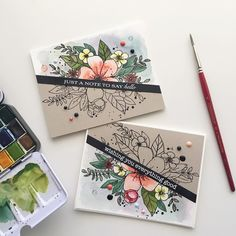 Split personalities for today's cards! Also for the current challenges running and Altenew Cards, Stampin Up Cards, Cute Cards, Diy Cards, Karten Diy, Watercolor Cards, Watercolor Flowers, Watercolour, Creative Cards