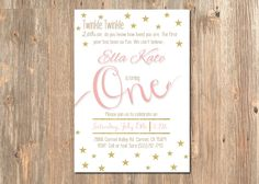 Pink and Gold Twinkle Twinkle Little Star First Birthday Invitation - 1st Girl's Party Invite - Glitter - Blush - Printable - Pink - Gold by 4MustardSeeds on Etsy https://www.etsy.com/listing/239727773/pink-and-gold-twinkle-twinkle-little