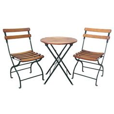 3 Piece Daniel Folding Patio Bistro Set Table Seating