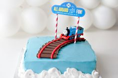 How to Throw a Thomas & Friends DIY Birthday Party Train Birthday Party Cake, 2nd Birthday Cake Boy, Thomas Birthday Cakes, Friends Birthday Cake, Thomas Birthday Parties, Thomas Cakes, Thomas The Train Birthday Party, Train Party, Birthday Ideas