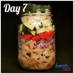 Day 7 - Greek Pasta Salad   2 tbsp Greek vinaigrette http://bit.ly/12Dressings 1 cup whole wheat farfalle, cooked ¼ small red onion, finely diced ½ red bell pepper, diced ½ cup zucchini, diced ¼ cup feta cheese, crumbled fresh parsley, finely chopped