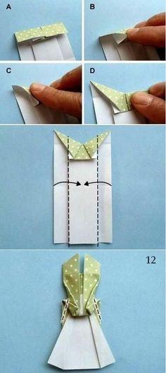 27 Super Ideas For Origami Dress Card Diy Origami Dress, Origami Paper, Diy Paper, Paper Crafts, Diy Origami, Diy Cards, Your Cards, Origami Vestidos, Dress Card