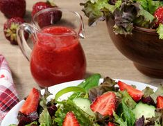 Mom's Strawberry Vinaigrette - Quick and Easy - An Alli Event Strawberry Vinaigrette, Strawberry Juice, Spring Mix Greens, Sour Cream Pound Cake, Slow Cooker Bbq, Spring Desserts, Pecan Recipes, Toasted Pecans, How To Squeeze Lemons