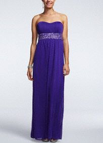 Knock 'em dead in this elegant, long prom dress in a vivid color that's totally on trend!  Sweet strapless bodice is banded by a glittering bead detail.  Empire waist elongates your silhouette and the matte jersey skirt is super-comfy to dance in all night long.  Available online and in stores in Purple.  Fully-lined. Back zip. Imported polyester. Professional spot clean. Available in Plus sizes as Style 8420CW8W.