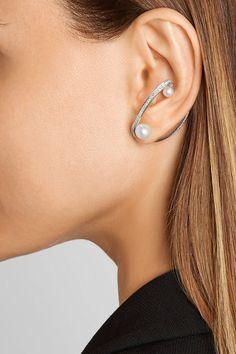 Lynn Ban   Ellipse sterling silver, pearl and diamond ear cuff   NET-A-PORTER.COM