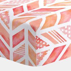 Coral Watercolor Herringbone Crib Sheet | Carousel Designs