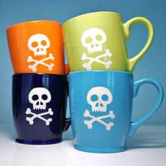 Check out these skull and bones coffee mugs from Bread and Badger