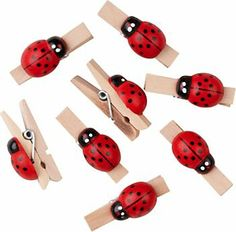 Ladybug Clothespins - For First Year Photos Banner - would look darling on the little gift bags