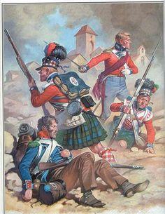 "Scontro fra fanteria francese e ""Highlanders"" Military Diorama, Military Art, Military History, British Army Uniform, British Uniforms, Waterloo 1815, Battle Of Waterloo, Military Costumes, Military Uniforms"
