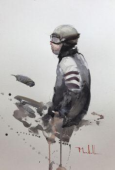 Waiting to Race by Daniel Marshall Watercolor ~ 15 x 9 Motorcycle Art, Bike Art, Watercolor Sketch, Watercolor Portraits, Watercolor Artists, David Mann Art, Bike Sketch, Bike Poster, Cult