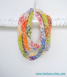 Crochet Infinity Wrap Rope Scarf Cowl in Rainbow and by luvbuzz, $28.00