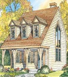 Small Cottage House Plans . . . small in size -- BIG ON CHARM!  Small cottage 2. pic 1.  1064 sq ft.  It might be bigger than you want but perhaps only the first floor would work with a but of alteration to allow for a bed, and a guest and storage loft above.