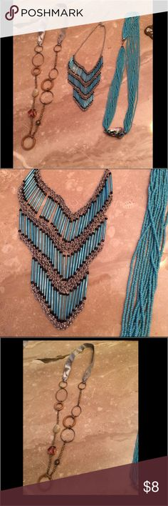 Costume jewelry Multiple necklaces $8 each. Blue layered necklace has some tarnish, show in picture. Others are in perfect condition. Make an offer and be specific about which you'd like in a comment. Accessories