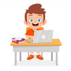 Happy cute boy using a new laptop Premiu... | Free Vector #Freepik #freevector #school #people #book #technology