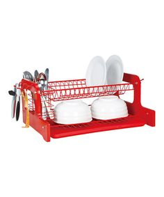 Look what I found on #zulily! Red Two-Tier Dish Rack by home basics #zulilyfinds