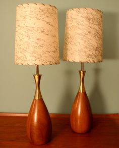 Vintage Pair of Mid Century Danish Modern Wooden Lamps