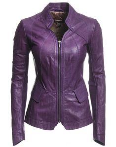 Danier : women : jackets & blazers : |leather women jackets & blazers 110020137| | #Danier #mothersday Purple Leather Jacket, Purple Jacket, Leather Blazer, Purple Fashion, Look Fashion, Fashion News, Mode Rock, Leather Fashion, Casual Outfits