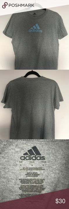 Trendy Gray Adidas T-Shirt Slightly worn, 90% cotton, 10% polyester. Perfect for a sporty, trendy look Adidas Tops Tees - Short Sleeve